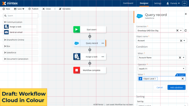 Salesforce Query action in Nintex Workflow Cloud in draft new designs. The new design illustrates clearer color contrast in the action configuration.